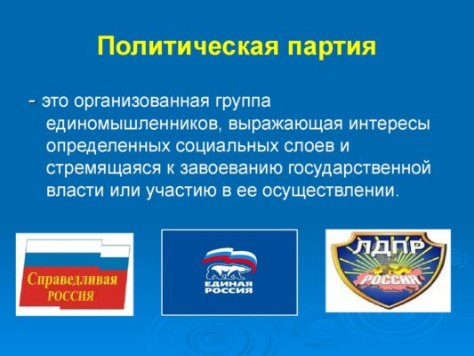 Понятие политической партии